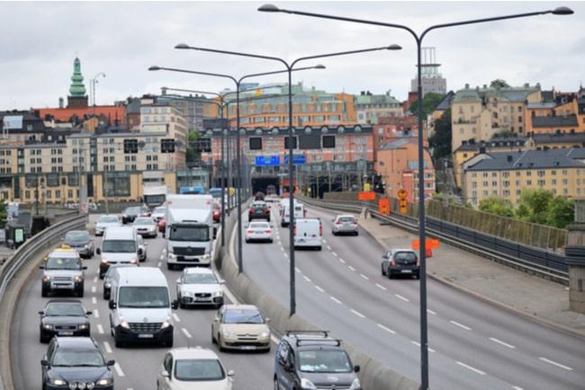Tät trafik i Stockholm