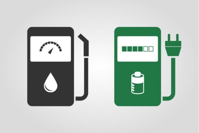 illustration av bensinpump och en elladdningsstation för bilar